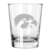 Iowa Hawkeyes Etched 15 oz Double Old Fashioned Glass Set of 2