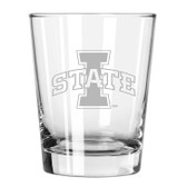 Iowa State Cyclones Etched 15 oz Double Old Fashioned Glass Set of 2