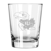 Kansas Jayhawks Etched 15 oz Double Old Fashioned Glass Set of 2