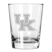 Kentucky Wildcats Etched 15 oz Double Old Fashioned Glass Set of 2