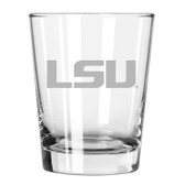 LSU Tigers Etched 15 oz Double Old Fashioned Glass Set of 2