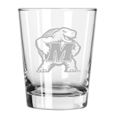 Maryland Terrapins Etched 15 oz Double Old Fashioned Glass Set of 2