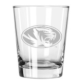 Missouri Tigers Etched 15 oz Double Old Fashioned Glass Set of 2