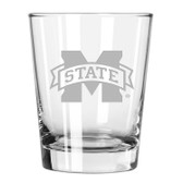 Mississippi State Bulldogs Etched 15 oz Double Old Fashioned Glass Set of 2