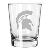 Michigan State Spartans Etched 15 oz Double Old Fashioned Glass Set of 2