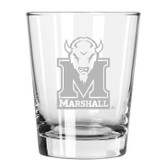 Marshall Thundering Herd Etched 15 oz Double Old Fashioned Glass Set of 2