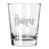 Nebraska Cornhuskers Etched 15 oz Double Old Fashioned Glass Set of 2