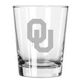 Oklahoma Sooners Etched 15 oz Double Old Fashioned Glass Set of 2