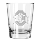 Ohio State Buckeyes Etched 15 oz Double Old Fashioned Glass Set of 2