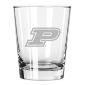 Purdue Boilermakers Etched 15 oz Double Old Fashioned Glass Set of 2