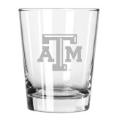 Texas A&M Aggies Etched 15 oz Double Old Fashioned Glass Set of 2
