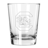 South Carolina Gamecocks Etched 15 oz Double Old Fashioned Glass Set of 2