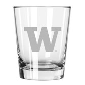 Washington Huskies Etched 15 oz Double Old Fashioned Glass Set of 2