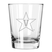 Vanderbilt Commodores Etched 15 oz Double Old Fashioned Glass Set of 2
