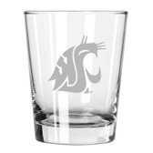 Washington State Cougars Etched 15 oz Double Old Fashioned Glass Set of 2