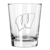Wisconsin Badgers Etched 15 oz Double Old Fashioned Glass Set of 2