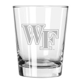Wake Forest Demon Deacons Etched 15 oz Double Old Fashioned Glass Set of 2