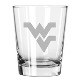 West Virginia Mountaineers Etched 15 oz Double Old Fashioned Glass Set of 2