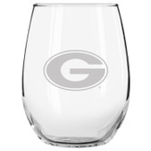 Georgia Bulldogs Etched 15 oz Stemless Wine Glass Set of 2 Tumbler