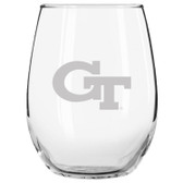 Georgia Tech Yellow Jackets Etched 15 oz Stemless Wine Glass Set of 2 Tumbler