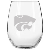 Kansas State Wildcats Etched 15 oz Stemless Wine Glass Set of 2 Tumbler