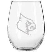 Louisville Cardinals Etched 15 oz Stemless Wine Glass Set of 2 Tumbler