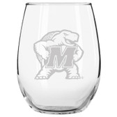 Maryland Terrapins Etched 15 oz Stemless Wine Glass Set of 2 Tumbler