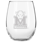 Marshall Thundering Herd Etched 15 oz Stemless Wine Glass Set of 2 Tumbler