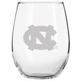 North Carolina Tar Heels Etched 15 oz Stemless Wine Glass Set of 2 Tumbler