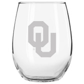 Oklahoma Sooners Etched 15 oz Stemless Wine Glass Set of 2 Tumbler