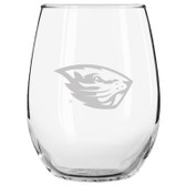 Oregon State Beavers Etched 15 oz Stemless Wine Glass Set of 2 Tumbler