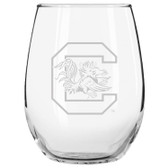 South Carolina Gamecocks Etched 15 oz Stemless Wine Glass Set of 2 Tumbler