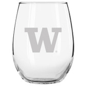 Washington Huskies Etched 15 oz Stemless Wine Glass Set of 2 Tumbler