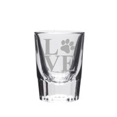 Paw Print Love Deep Etched Shot Glass