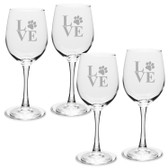Paw Print LOVE Deep Etched White Wine Glass Set 4
