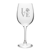 Paw Print LOVE Deep Etched Classic Wine Glass