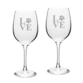 Paw Print LOVE Deep Etched Classic Wine Glass Set of 2