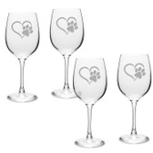 Paw Print Heart Deep Etched Classic Wine Glass Set of 4