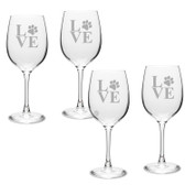 Paw Print LOVE Deep Etched Classic Wine Glass Set of 4