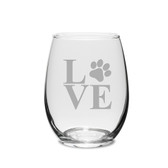 Paw Print Love Deep Etched Stemless White Wine Glass