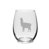 Llama Deep Etched Stemless White Wine Glass