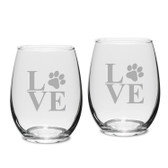 Paw Print LOVE Deep Etched Stemless White Wine Glass Set of 2
