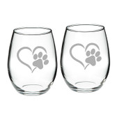 Paw Print Heart Deep Etched Stemless Red Wine Glass