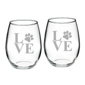 Paw Print Deep Etched Stemless Red Wine Glass