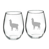 Llama Deep Etched Stemless Red Wine Glass