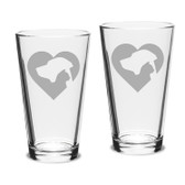 Cat Dog Heart Deep Etched Classic Pub Pint Glass Set of 2