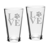 Paw Print LOVE Deep Etched Classic Pub Pint Glass Set of 2