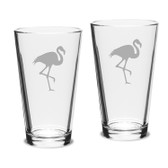Flamingo Deep Etched Classic Pub Pint Glass Set of 2
