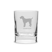 Airedale Terrier Luigi Bormioli 11.75 oz Square Round Double Old Fashion Glass
