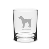 Airedale Terrier Deep Etched 14 oz Classic Double Old Fashion Glass